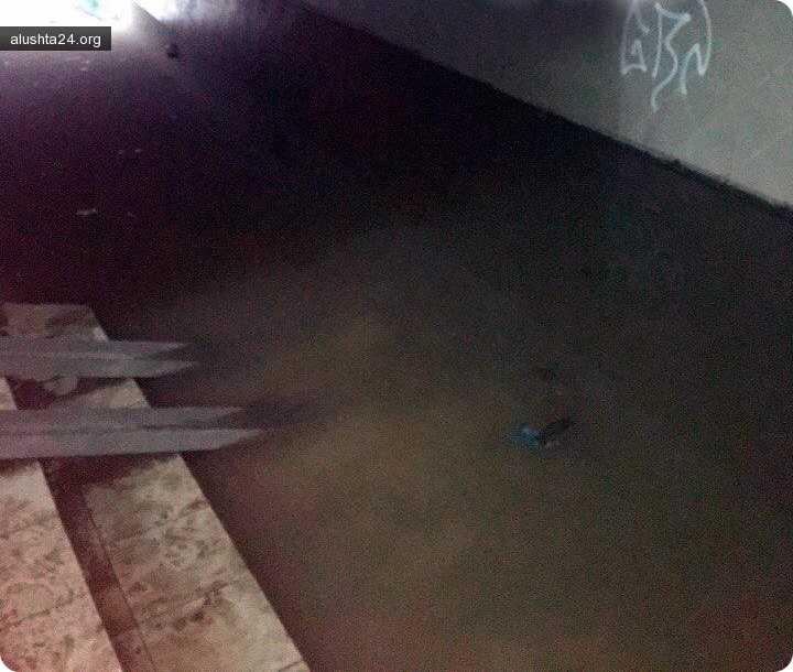 Все об Алуште: Подземный переход на Заповеднике в очередной раз затопило